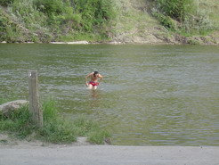Back, Crack and Sack! Bathing in the local river (we never saw anyone else swimming in it.