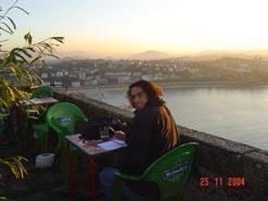 San Sabastion - Writing in my journal comtemlating life atsunset