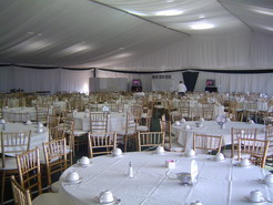 Inside the main dining tent.
