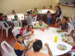 The dining area - the kids having lunch